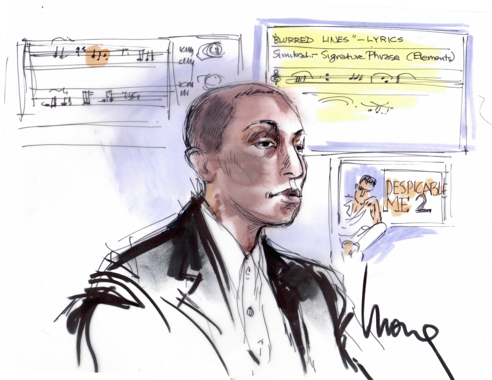Pharrell Williams Blurred Lines Trial Illustration