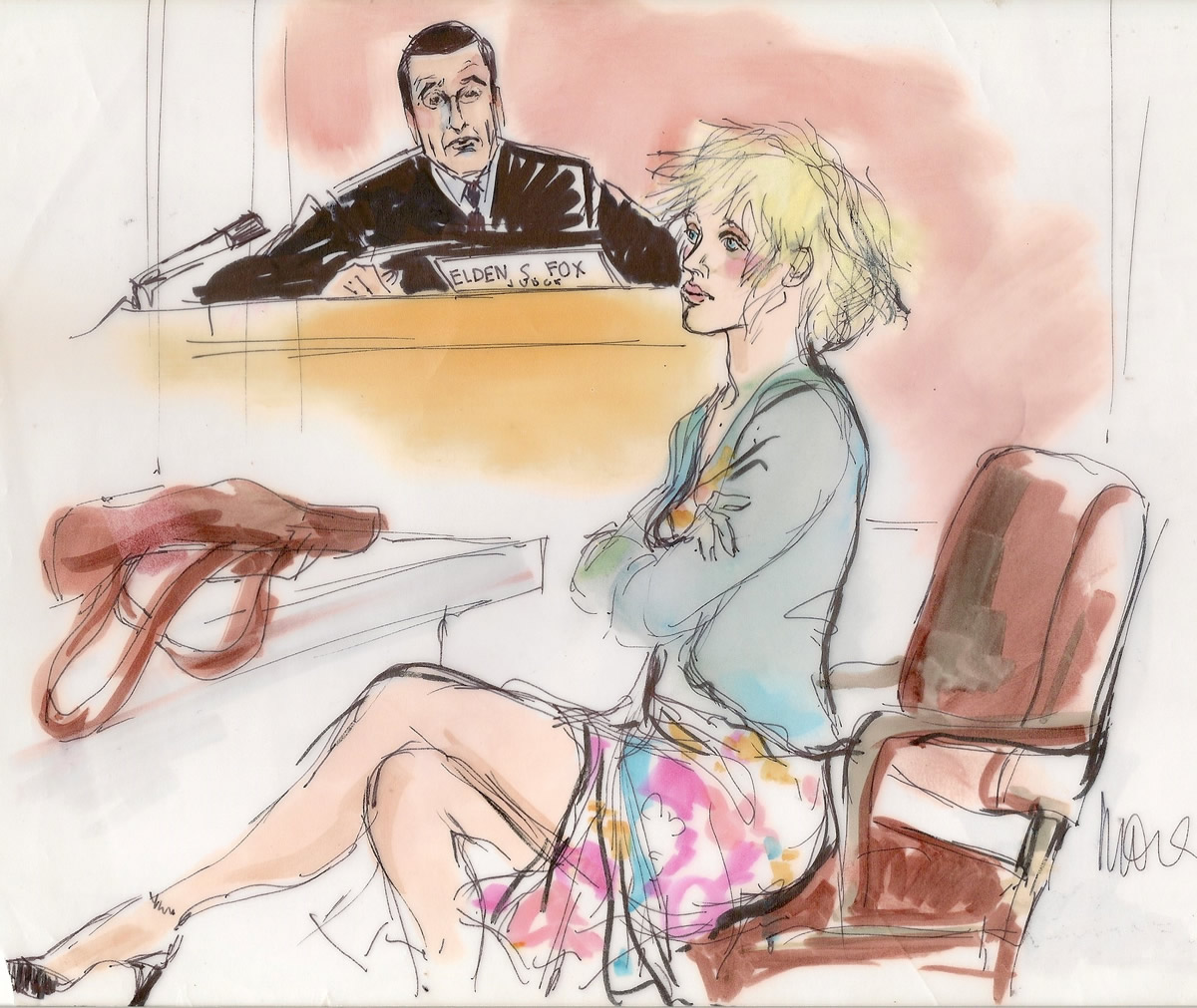 Courtney Love Drug Trial Courtroom Illustration