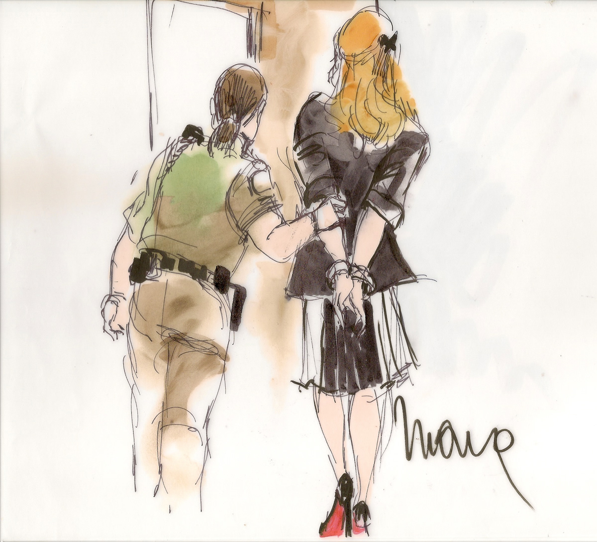Lindsay Lohan Drunk Driving Courtroom Illustration, Louboutin