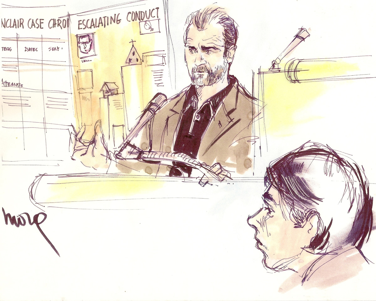 Mel Gibson Stalker Trial Courtroom Illustration
