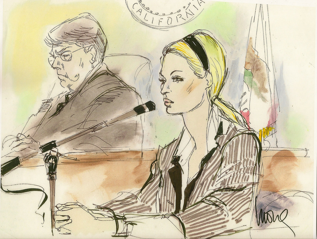 Paris Hilton Drunk Driving Hearing Courtroom Illustration Paris Hilton