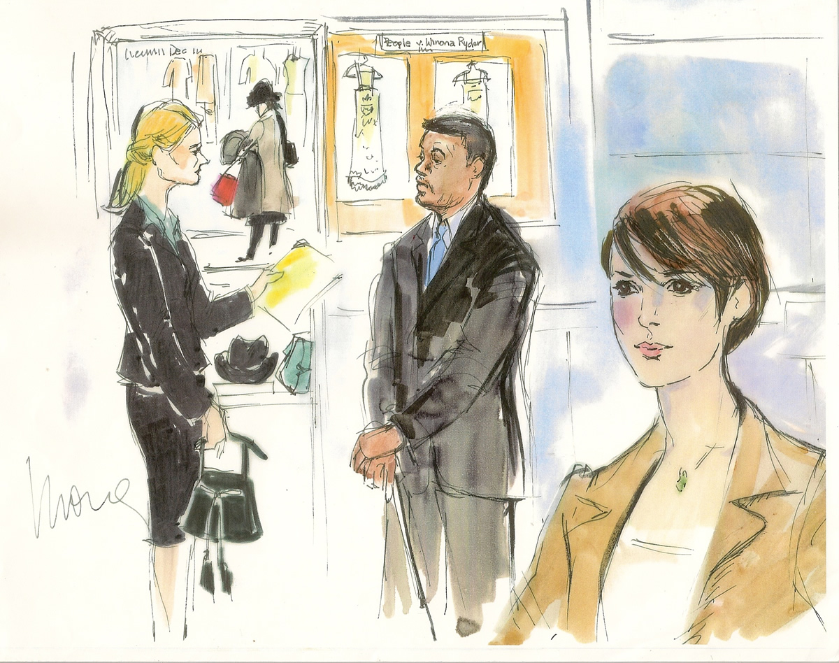 Winona Ryder Shoplifting Trial Courtroom Illustration