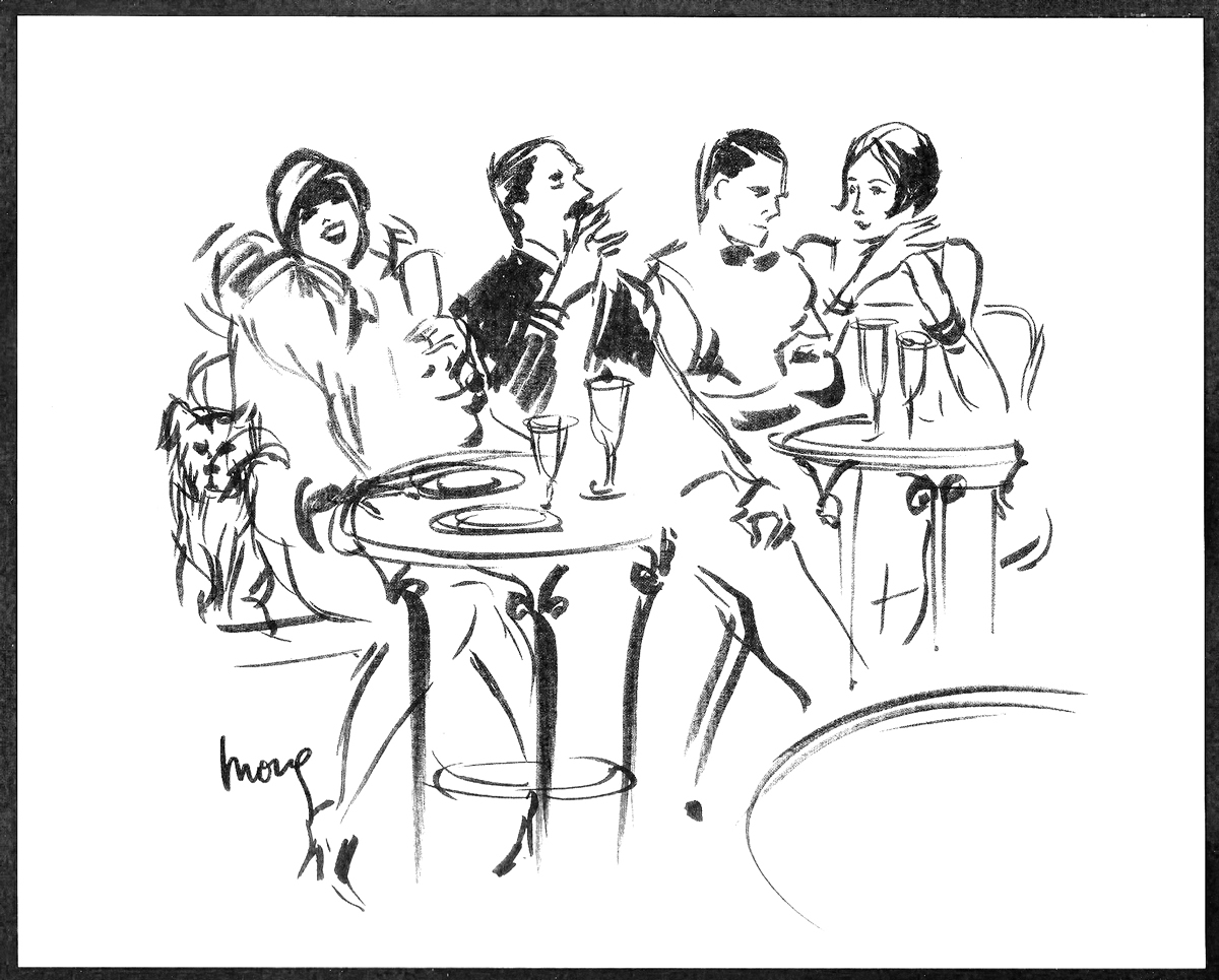 1920s Paris Cafe Fashion Illustration