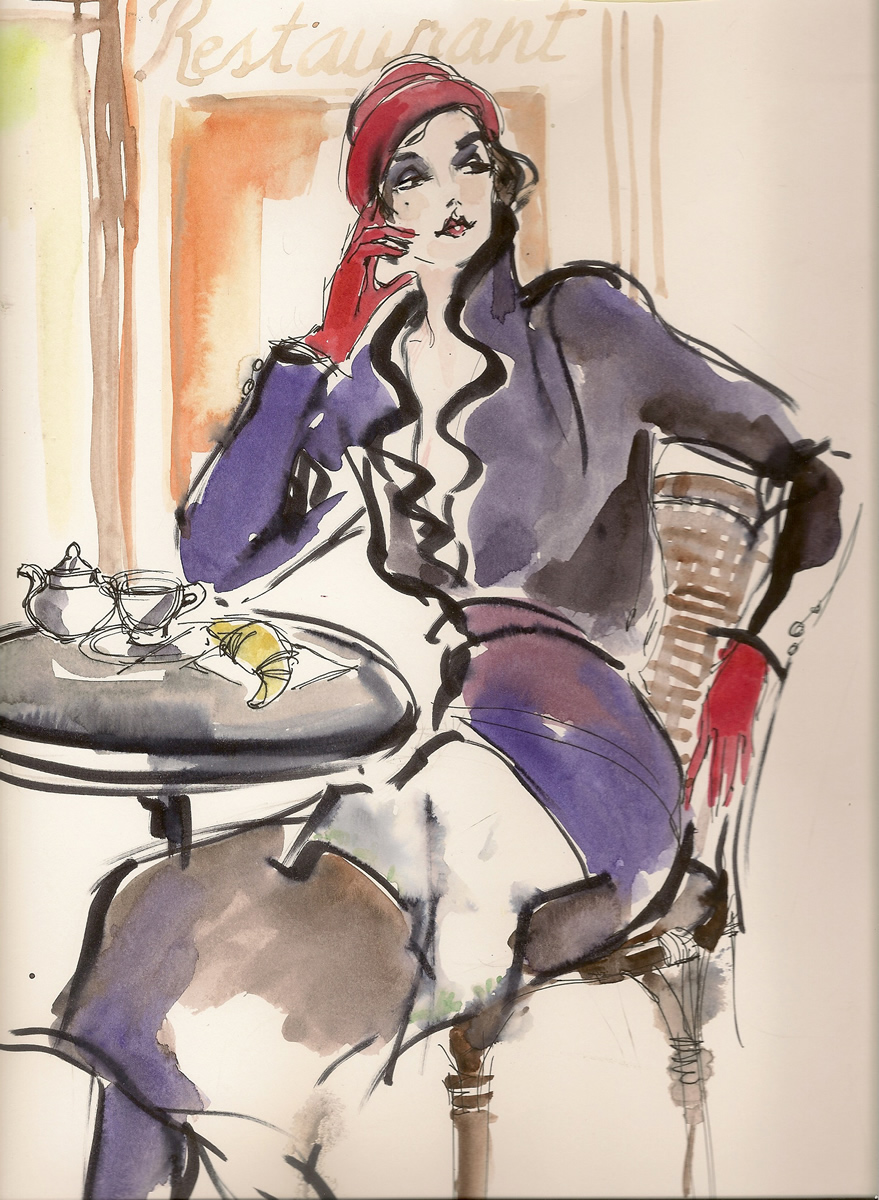 Classic Fashion Illustration French Cafe