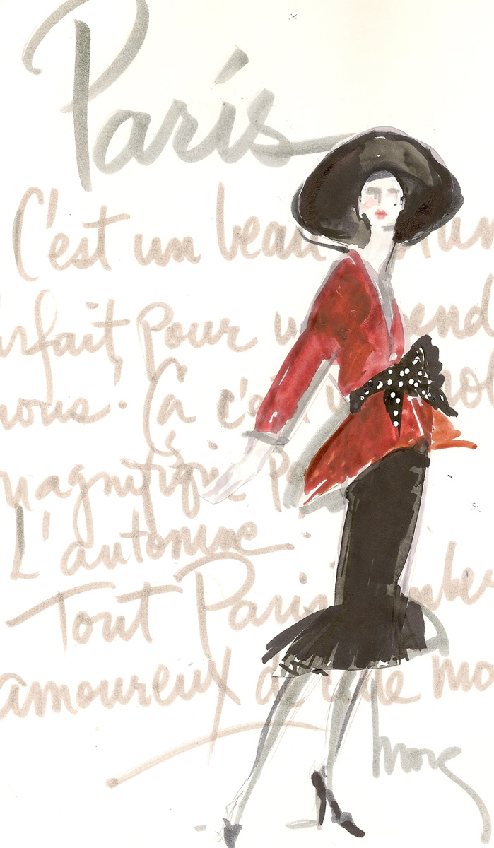 Classic Chic High Fashion Illustration Paris