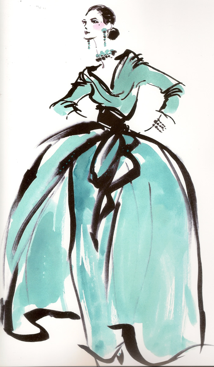 Haute Couture Evening Dress Fashion Illustration