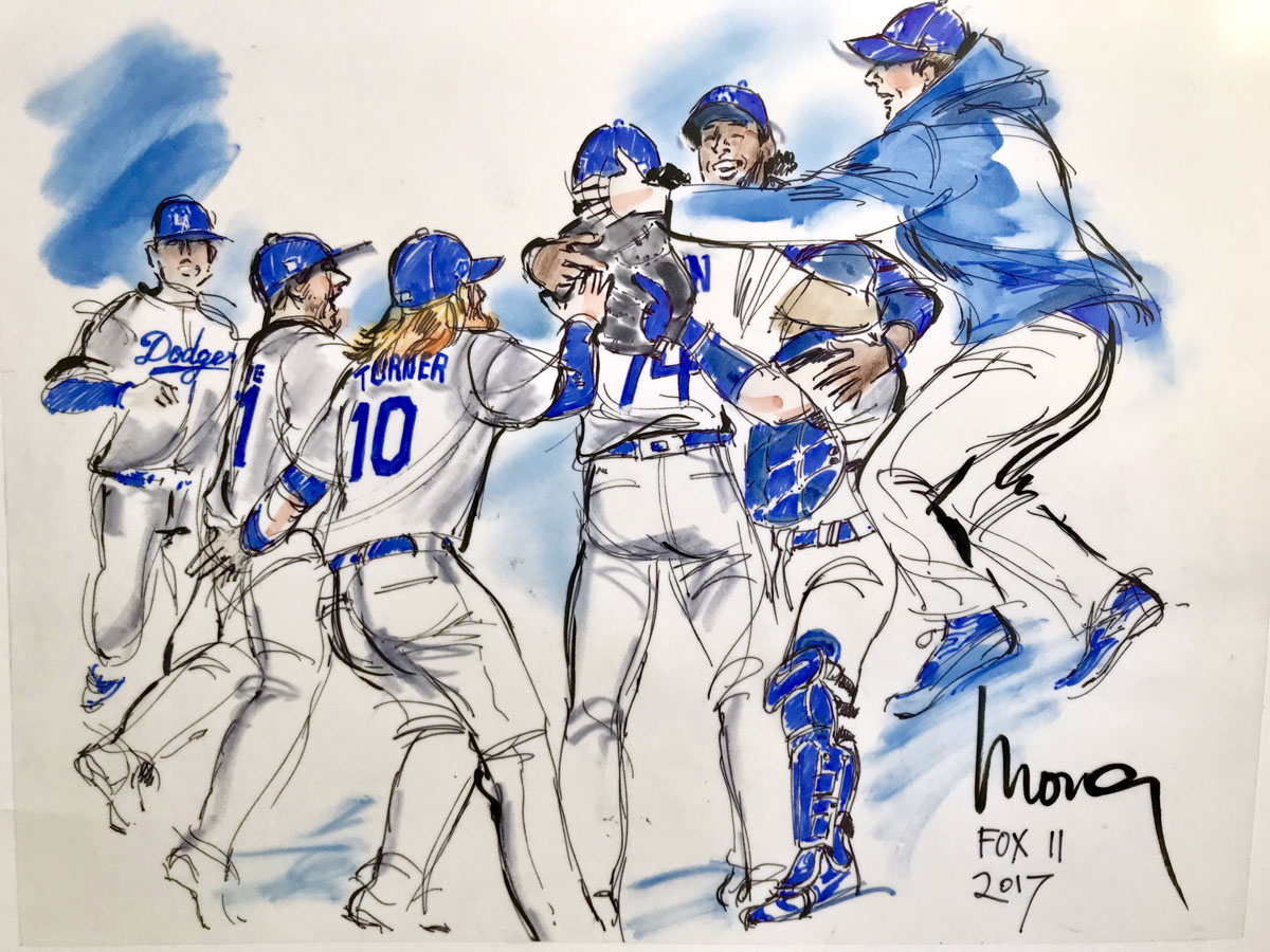 LA Dodgers illustration - 2017 World Series - Mona Edwards