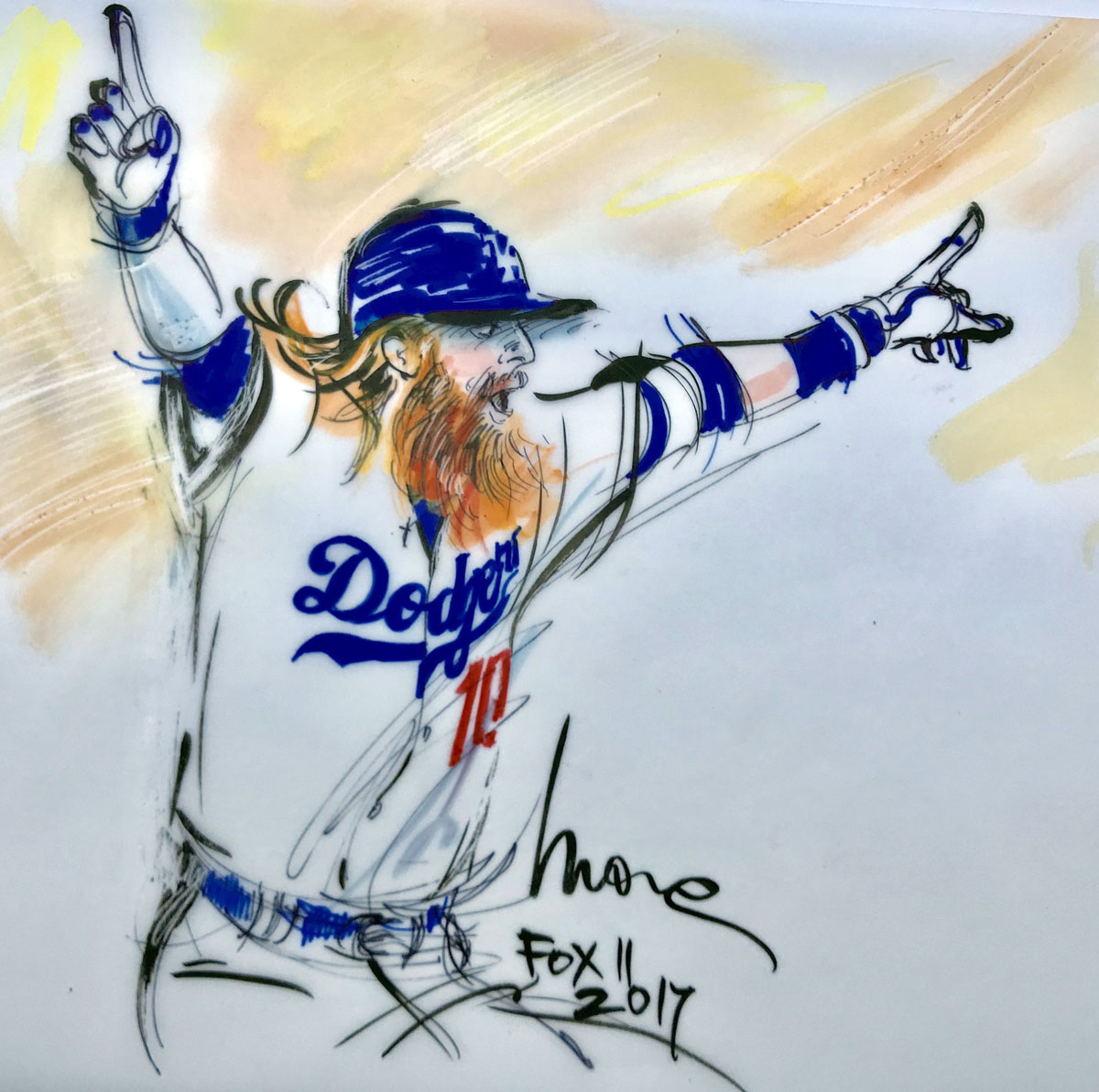 LA Dodgers illustration - Justin Turner - 2017 World Series - Mona Edwards