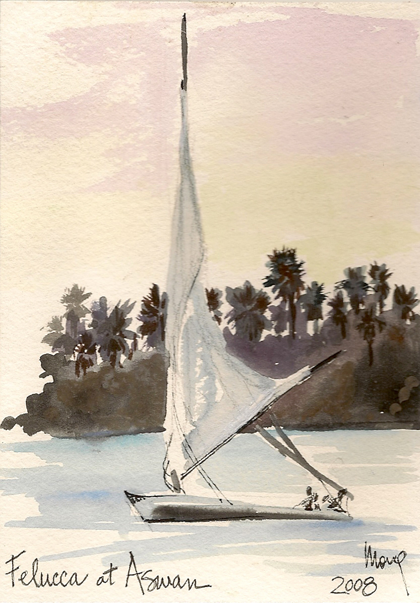 Travel Illustration Felucca in Egypt