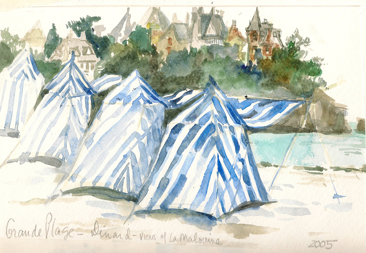 Cabanas in Dinard France Travel Illustration
