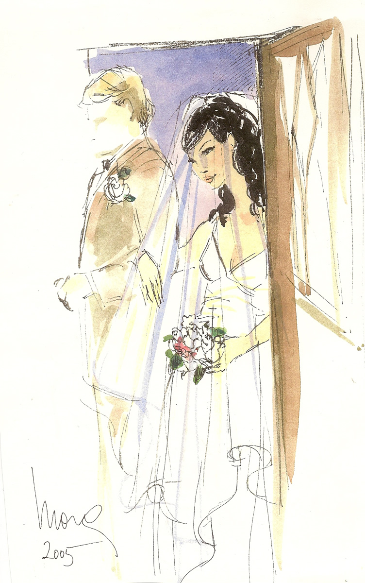 Bride waiting Wedding Illustration