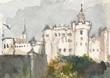 Fortress Salzburg Germany Travel Illustration