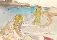Beach at Ste Maxime FranceTravel Illustration