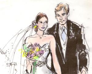 Bride and Groom Wedding Illustration