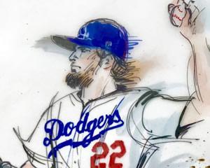 Clayton Kershaw LA Dodgers illustration - 2017 World Series - Mona Edwards