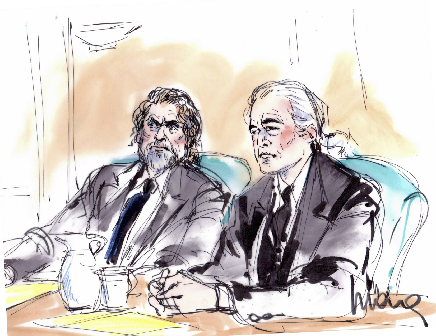 Robert Plant Jimmy Page Led Zeppelin Trial Illustration