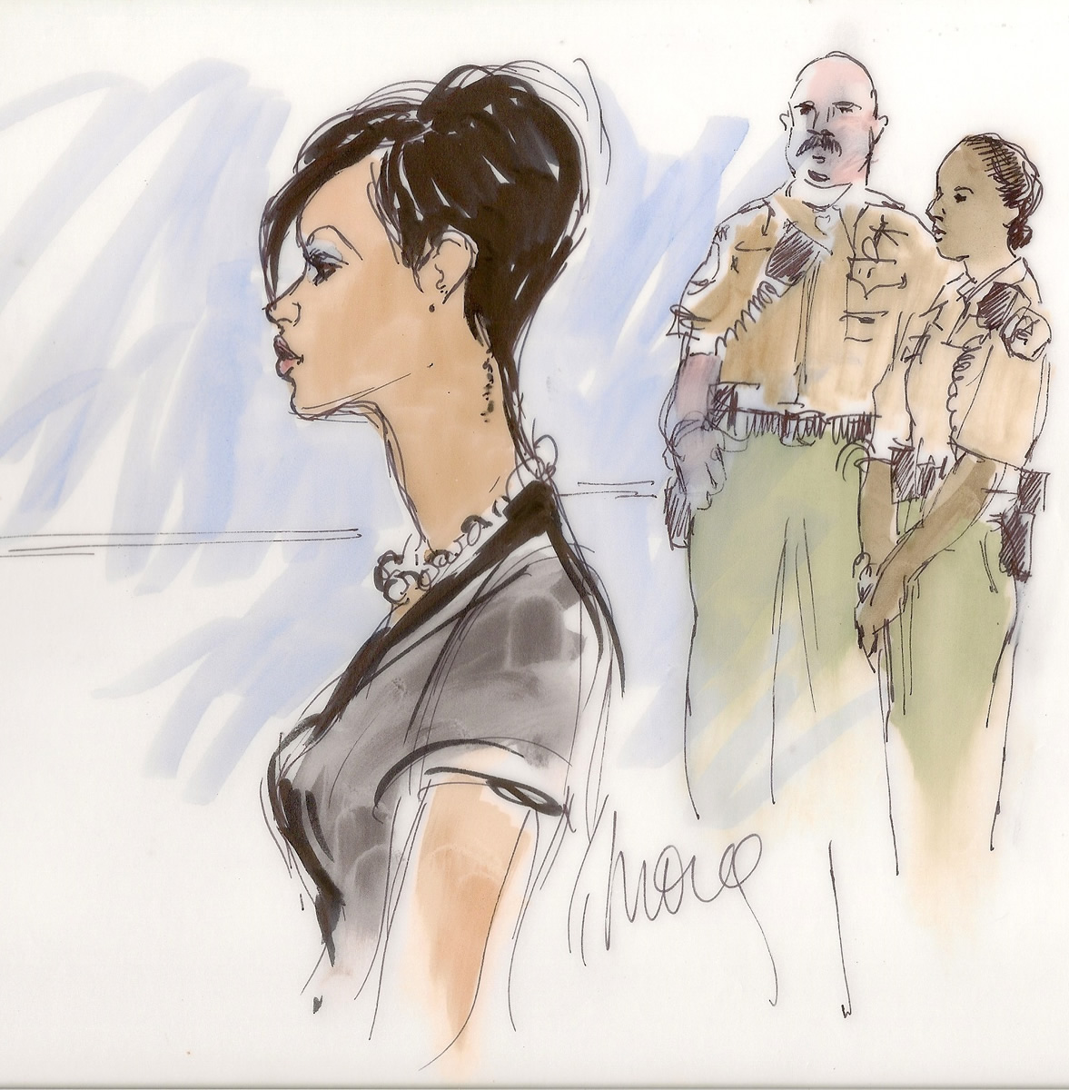 Rihanna, Chris Brown Hearings Courtroom Illustration