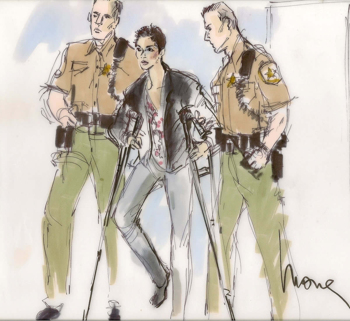 Halle Berry Child Custody Hearing Courtroom Illustration