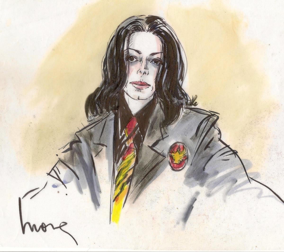 Michael Jackson Child Molestation Courtroom Illustration