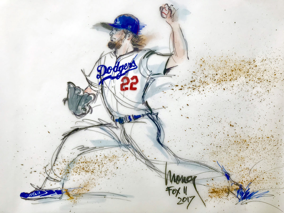 Clayton Kershaw LA Dodgers illustration - 2017 World Series - Mona Edwards