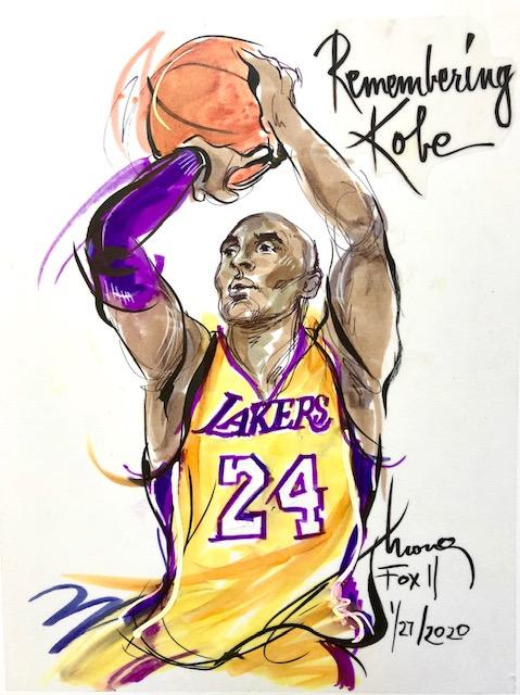 Kobe Bryant illustration by Mona Edwards