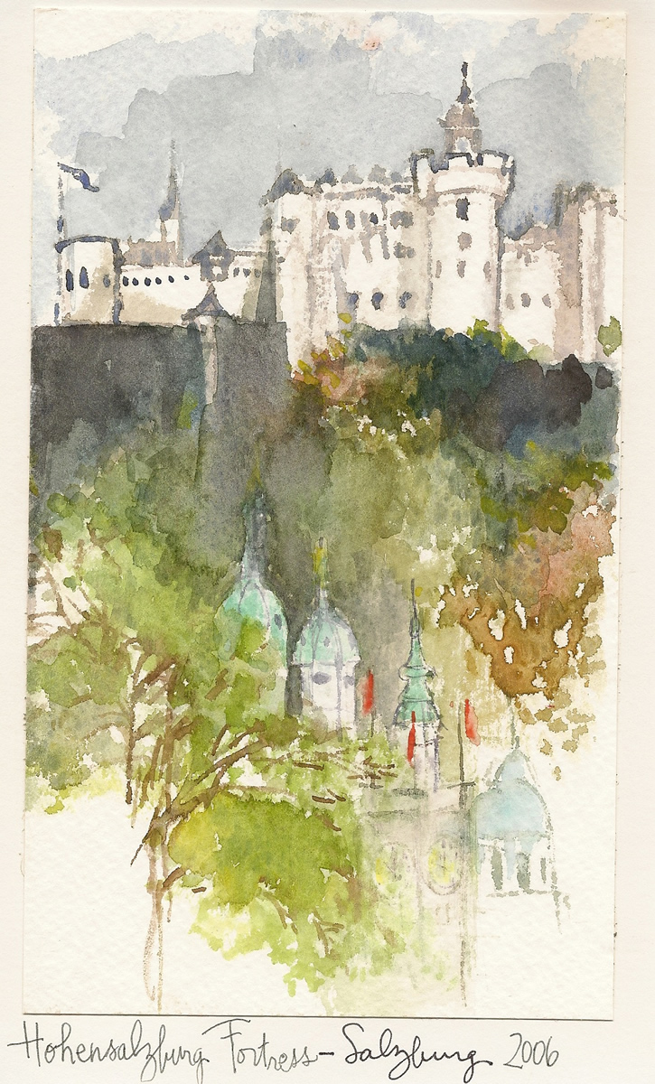 Fortress Salzburg Germany Travel Illustration