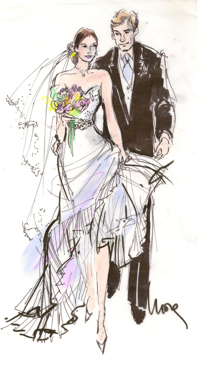Bride and Groom Wedding Illustration
