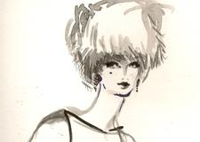 Black and White Fashion Illustration Fur Hat