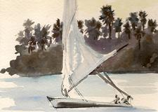 Travel Illustration Felucca in Egypt