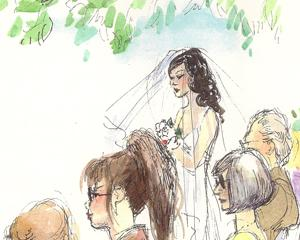 Wedding Illustration Bride down the aisle