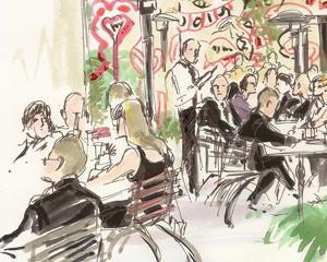 Patio Guests Wedding Illustration