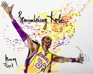 Kobe Bryant drawing by Mona Edwards